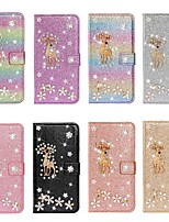 cheap -Case For iPhone Xs Max / iPhone 11 Pro / iPhone 11 Pro Max Wallet / Card Holder / Shockproof Christmas Deer Diamond Glitter PU Leather Case For  iPhone XR / iPhone 7 Plus / 8 Plus / 6s Plus / 5S / Se