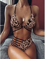 cheap -Women's Basic Khaki Triangle Cheeky Bikini Swimwear Swimsuit - Leopard Color Block Print S M L Khaki