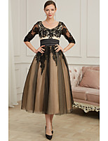cheap -A-Line V Neck Ankle Length Polyester Sexy / Black Cocktail Party / Prom Dress with Appliques 2020