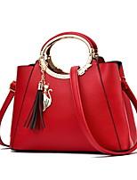 cheap -Women's Zipper PU Top Handle Bag Color Block Purple / Yellow / Red