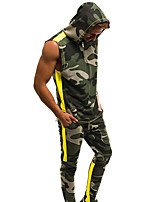 cheap -Men's Tracksuit Zipper Camo / Camouflage Red and White Pink+Green White+Red Cotton Yoga Fitness Gym Workout Clothing Suit Sleeveless Sport Activewear Breathable Quick Dry