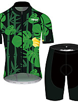 cheap -21Grams Men's Short Sleeve Cycling Jersey with Shorts Black / Green Floral Botanical Bike UV Resistant Quick Dry Sports Patterned Mountain Bike MTB Road Bike Cycling Clothing Apparel / Stretchy