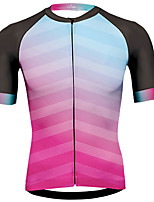 cheap -21Grams Men's Short Sleeve Cycling Jersey 100% Polyester Pink Gradient Bike Jersey Top Mountain Bike MTB Road Bike Cycling UV Resistant Breathable Quick Dry Sports Clothing Apparel / Stretchy