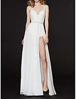 cheap -A-Line Sexy White Prom Formal Evening Dress Spaghetti Strap Sleeveless Floor Length Chiffon with Beading Split 2020