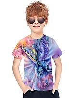 cheap -Kids Boys' Active Punk & Gothic 3D Plaid Animal Short Sleeve Tee Purple