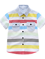 cheap -Kids Toddler Boys' Basic Striped Short Sleeve Shirt White