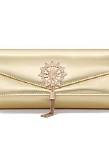 cheap -Women's Tassel / Flower PU Evening Bag Solid Color Black / Champagne / Gold
