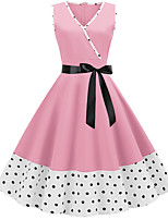 cheap -Women's Blushing Pink Dress Active Cute Party Daily Swing Polka Dot Patchwork Print S M / Cotton