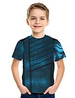 Недорогие -Дети Мальчики Классический Уличный стиль Геометрический принт Контрастных цветов 3D С принтом С короткими рукавами Футболка Тёмно-синий