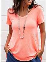 cheap -Women's Daily T-shirt - Solid Colored Orange