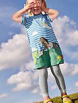 Недорогие -Дети Девочки Симпатичные Стиль Уличный стиль Геометрический принт С принтом С короткими рукавами До колена Платье Синий