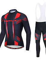 cheap -EVERVOLVE Men's Long Sleeve Cycling Jersey with Bib Tights Polyester Red+Black Black / White Geometic Bike Clothing Suit Thermal / Warm Breathable 3D Pad Quick Dry Sweat-wicking Sports Solid Color