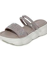 cheap -Women's Sandals Flat Heel Round Toe PU Spring & Summer Black / Gray