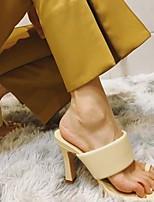 cheap -Women's Heels Chunky Heel Open Toe PU Summer Almond