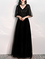 cheap -A-Line V Neck Floor Length Tulle Glittering / Black Prom / Formal Evening Dress with Appliques 2020 / Illusion Sleeve