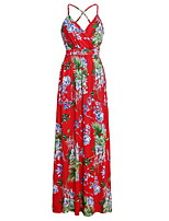 cheap -Women's Swing Dress - Geometric Backless Maxi White Yellow Blue S M L XL