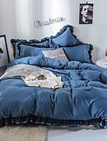 cheap -Goddess Small Money Lace Decorative Matte Quilt Cover Embroidery Four Piece Bedding Sheet Blue