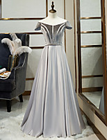 cheap -A-Line Illusion Neck Floor Length Satin / Velvet Minimalist / Grey Prom / Formal Evening Dress with Pleats 2020