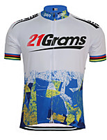 cheap -21Grams Men's Short Sleeve Cycling Jersey 100% Polyester Blue / White Novelty Bike Jersey Top Mountain Bike MTB Road Bike Cycling UV Resistant Breathable Quick Dry Sports Clothing Apparel / Stretchy