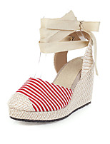 cheap -Women's Sandals Wedge Heel Round Toe Canvas Casual / Minimalism Summer Red / Blue / Gray / Color Block
