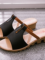 cheap -Women's Sandals Flat Heel Round Toe PU Spring & Summer Black / White / Blue
