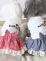 cheap -Dog Costume Dress Dog Clothes Breathable Red Blue Costume Beagle Bichon Frise Chihuahua Fabric Plaid / Check Bowknot Lace Casual / Sporty Cute XS S M L XL