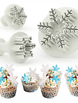 cheap -DIY Baked Fondant 3pcs Snowflake Fondant Embossed Spring Biscuit Mould