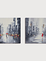 cheap -Hand Painted Canvas Oilpainting Abstract Street Landscape Set of 2 Home Decoration with Frame Painting Ready to Hang