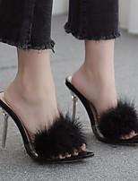 Недорогие -Жен. Обувь на каблуках На шпильке Открытый мыс Полиуретан Лето Черный