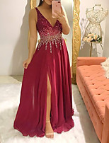 cheap -A-Line V Neck Floor Length Chiffon Glittering / Red Engagement / Formal Evening Dress with Sequin / Split 2020