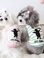 cheap -Dog Costume Vest Dog Clothes Breathable Pink Green Dark Green Costume Beagle Bichon Frise Chihuahua Cotton Stripes Cartoon Quotes & Sayings Casual / Sporty Cute XS S M L XL