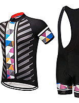cheap -21Grams Men's Short Sleeve Cycling Jersey with Bib Shorts Black / White Plaid / Checkered Bike Clothing Suit UV Resistant Breathable 3D Pad Quick Dry Sweat-wicking Sports Plaid / Checkered Mountain