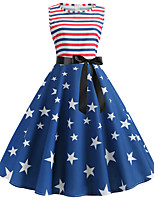 cheap -Women's Party Daily Active Street chic Swing Dress - Print Patchwork Print Blue S M L XL