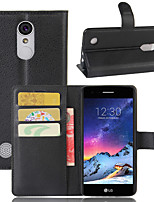cheap -Case For LG LG Q Stylus / LG X venture / LG X Style Wallet / Card Holder / Flip Full Body Cases Solid Colored PU Leather / TPU