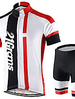 cheap -21Grams Men's Short Sleeve Cycling Jersey with Shorts Black / White Bike Clothing Suit UV Resistant Breathable 3D Pad Quick Dry Sweat-wicking Sports Solid Color Mountain Bike MTB Road Bike Cycling