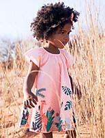 cheap -Kids Girls' Cute Street chic Geometric Print Short Sleeve Knee-length Dress Blushing Pink