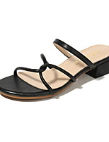 cheap -Women's Sandals Chunky Heel Round Toe PU Spring & Summer Black / Almond