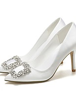 cheap -Women's Wedding Shoes Stiletto Heel Pointed Toe Rhinestone PU Spring & Summer White
