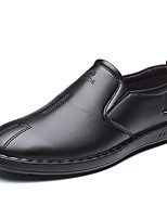 cheap -Men's Leather Fall / Spring & Summer Casual / British Loafers & Slip-Ons Breathable Black / Party & Evening