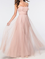 cheap -A-Line Sweetheart Neckline Floor Length Tulle Elegant / Pink Engagement / Prom Dress with Ruffles 2020