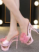 cheap -Women's Sandals Sculptural Heel Round Toe Satin Flower Satin Classic Summer Black / Almond / Blue / Party & Evening