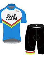 cheap -21Grams Men's Short Sleeve Cycling Jersey with Shorts Black / Blue Bike UV Resistant Quick Dry Sports Patterned Mountain Bike MTB Road Bike Cycling Clothing Apparel / Stretchy