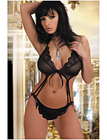 cheap -Women's Lace Bow Mesh Suits Bodysuits Nightwear Jacquard Solid Colored Embroidered Black S M L