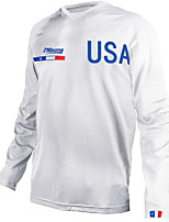 cheap -21Grams Men's Long Sleeve Cycling Jersey Downhill Jersey Dirt Bike Jersey 100% Polyester Blue White American / USA National Flag Bike Jersey Top Mountain Bike MTB Road Bike Cycling UV Resistant