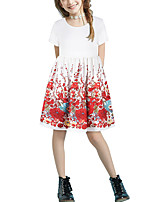cheap -Kids Girls' Basic Cute Floral Patchwork Print Short Sleeve Above Knee Dress White