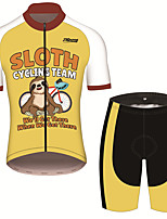 cheap -21Grams Men's Short Sleeve Cycling Jersey with Shorts Black / Yellow Animal Sloth Bike Clothing Suit UV Resistant Breathable 3D Pad Quick Dry Sweat-wicking Sports Animal Mountain Bike MTB Road Bike
