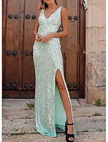 cheap -Sheath / Column V Neck Floor Length Polyester Sparkle / Turquoise / Teal Party Wear / Prom Dress with Sequin / Split 2020