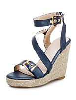 cheap -Women's Sandals Wedge Heel Open Toe PU Summer Black / White / Yellow