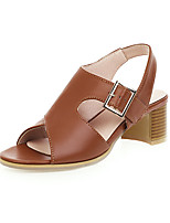cheap -Women's Sandals Chunky Heel Open Toe Buckle PU Vintage / Casual Summer Black / Dark Brown / Yellow