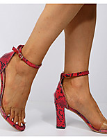 cheap -Women's Sandals Print Shoes Chunky Heel Pointed Toe PU Spring & Summer Red / White / Rainbow